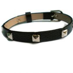 Leather Bracelet With Studs - Silver Tone Pyramid Studs - 8mm Black Strap - Adjustable