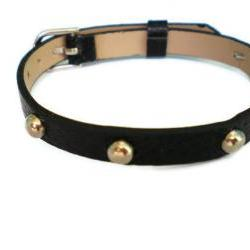 Black 8mm Studded Leather Bracelet - 5mm Round Silver Studs - Adjustable